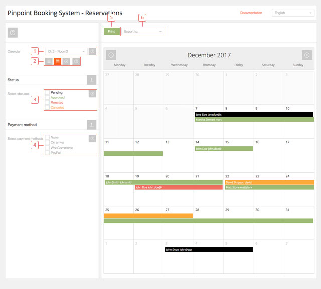 Calendar view of the reservations