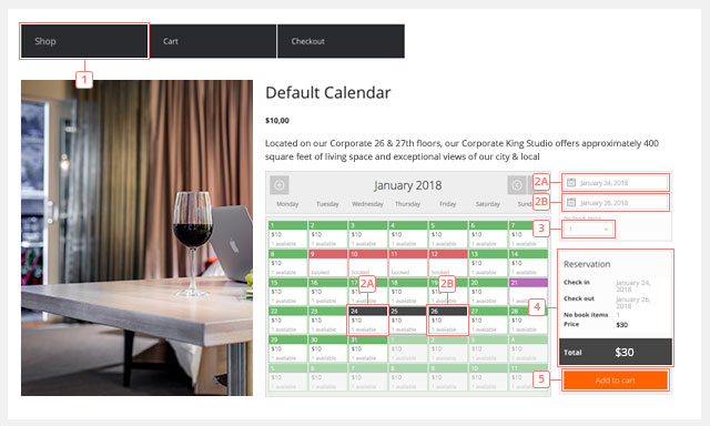 View the Booking Calendar on the Product page