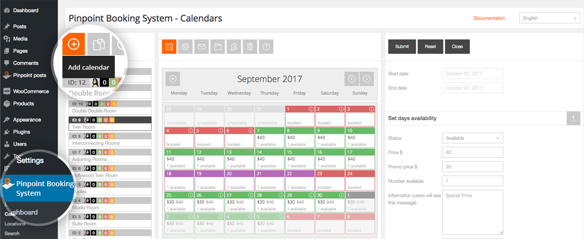 Create a Pinpoint booking calendar